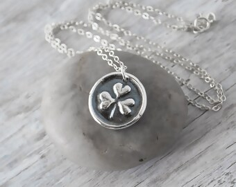 Wax Seal Shamrock Necklace -  Sterling Silver Chain - Silver Wax Seal  - St. Patrick's Day - Handcrafted Artisan Shamrock Necklace