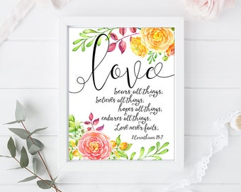 Love - Wedding quote from the bible verse - Art Print Poster - 8 x 10 inch - Art Calligraphy