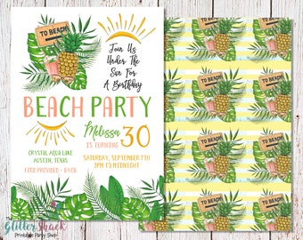 PRINTABLE Beach Party Invitation, Adult Birthday Party, Birthday Beach Party Invite, Beach Birthday Party, Ocean Birthday Party, Lake Party