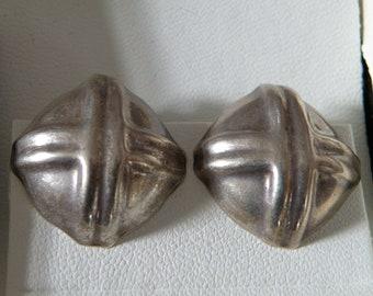 Vintage Sterling Silver Criss Cross Clip Earrings