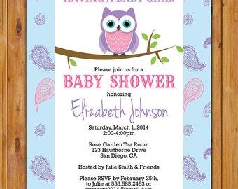 Owl Baby Shower Invite Look Whooo's Having a Girl Paisley Purple Pink Blue Baby Girl Shower Invitation 5x7 Digital JPG (272)