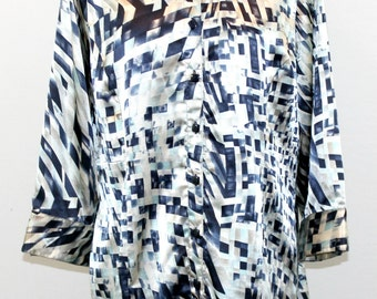 Blue, and cream satiny  tunic blouse with mandarin collar and geometric design. My Madison Michelle. Holiday blouse, beautiful blouse,