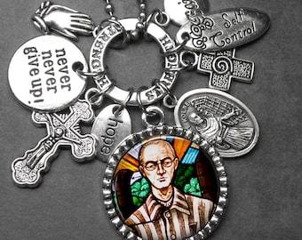 Drug Addicts Patron St. Maximilian Kolbe Picture Pendant & Multi Charm Necklace, Catholic Gift, Drug Addiction, Devotional Jewelry