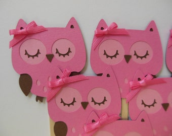 Owl Cupcake Toppers - Pink and Brown - Girl Birthday Party Decorations - Girl Baby Shower Decorations - Set of 6