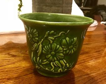 Vintage Haeger Pottery Green Floral design Planter