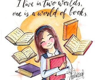 Print Rory Gilmore - Fandom art print-  Watercolor Art - Gift for Booknerds - Book lovers -