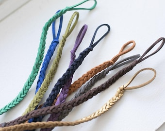 Handmade Braided Leather Pacifier Clip (Choose Colour)
