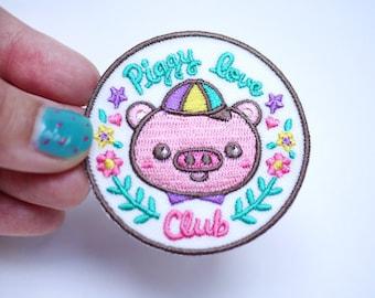 Piggy love Club Iron On Patch