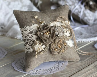 Wedding Ring Bearer Pillow, Burlap Flowers Ring Pillow, Rustic Ring stand, Lace Wedding Ring Pillow Wedding Pillow Handmade Pillow For Rings