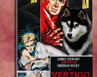 Siberian Husky Vintage Movie Style Poster Canvas Print  - VERTIGO    Perfect CHRISTMAS Gift Sale 30 off FREE Shipping