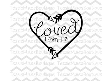 Loved Heart Arrow, SVG, DXF, EPS, Png, Printable, Religous, Bible Verse, Christian, TessieMaes, Silhouette, Cricut, Cuttable,