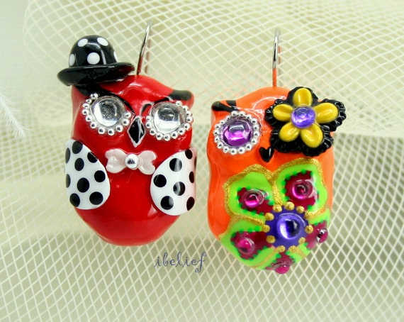 OWL NIGHT of handmade owls earrings EW0034