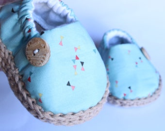 Mint baby shoes / Crib shoes / baby booties / baby espadrilles / newborn shoes / soft sole shoes / baby gift / baby loafers