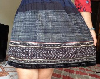 Vietnam Hmong Cotton Embroidered Hemp Skirt - Black and black batik