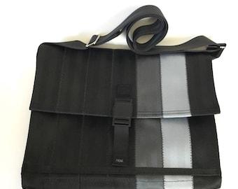 Crossbody Bag - Vegan Messenger Bag - Black, Gray and Silver Seatbelt Bag (M-7)
