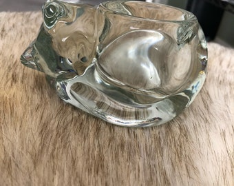 Vintage Glass Cat Candle Votive