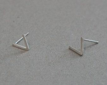 Sterling Silver V Earrings, Geometric, Mountain Top stud - TS020