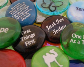 Imprinted Colored Glass Word Stones - Recovery Words and Phrases