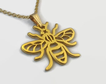 24 Carat Gold Plated Manchester Worker Bee Necklace - Delicate gold bee jewellery piece - A handmade pendant necklace with matching chain