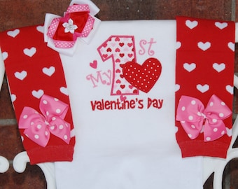 My 1st Valentine's Day Outfit! Baby girl first Valentine's Day outfit with applique top, red heart leg warmers, and matching hair bow