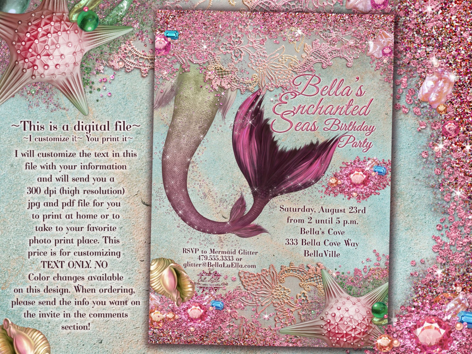 Pink Mermaid Invitations Mermaid Party Mermaid Pool Party