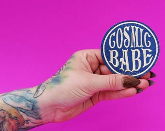 Cosmic Babe Patch, Hippie Patch, 70's Patch, Vintage Patch, Cool Patch, Iron on embroidered patch, Feminist Patch