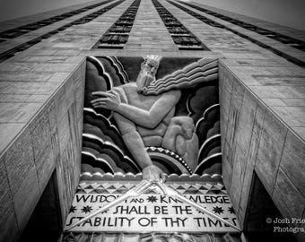 Rockefeller Center Wisdom Statue Photograph, New York City Photography, Black and White, Plaza, Art Deco Architecture, Monochrome, NYC Print
