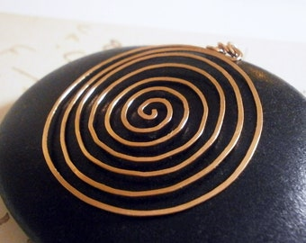 Rose Gold Spiral Labyrinth Pendant for Necklace 14k Rose Gold Fill Pendant Big Pink Gold Circle Pendant Hammered Wire Jewelry