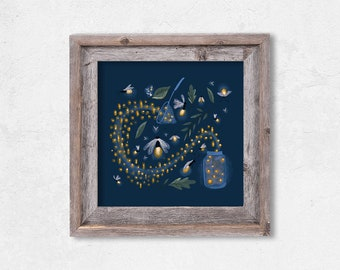 Catching Fireflies Print // Giclee  // Kids Art //  Insects // Home Decor // Dark Blue // Glowing // Nature