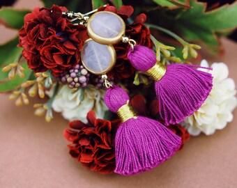 Statement tassel earrings, rose quartz earrings, statement pink earrings, fuchsia earrings