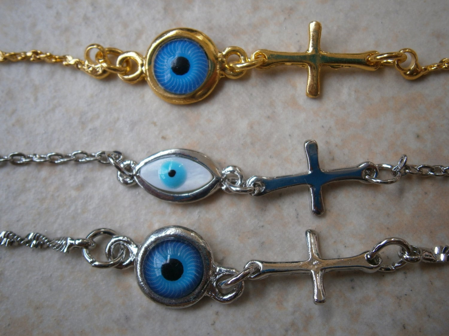 Greek Evil Eye Silver Plated Or Gold Tone Cross Anklet Or