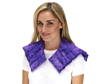 Neck Heating Pad, Herbal Heating Pad, Neck Shoulder Natural Therapy Healing, Heated Neck Shoulder Wrap, Microwave Heat Pack (Purple Flowers)