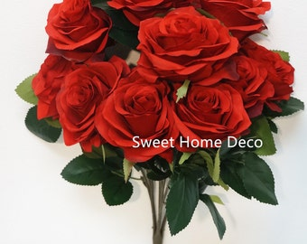 JennysFlwoerShop 18'' Princess Diana Rose Silk Artificial Flower (10 Stems/10 Flower Heads), the Most Beautiful Roses Red