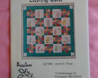 """Sunbonnet Sue Quilt Pattern. Sunbonnet's 12-month Coloring Quilt. Priceless Pieces. 46"""" x 46"""""""