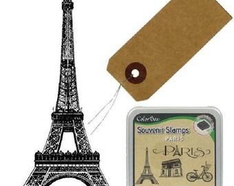 MAXI Paris stamp scrapbooking Kit wood eiffel tower + strong 50 + stamp pad-paris