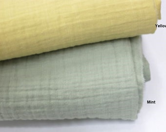 Crinkled Triple Gauze Fabric in 2 Colors By The Yard