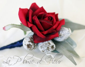 Menzies - RED and Grey Men's Buttonhole / Boutonniere.  Red Rose, dusty grey gumnuts and Australian native foliage.