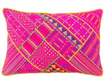 Tribal bright pink pillow, embroidered and welted cotton throw pillow, ethnic, asian, size 14x21 inches