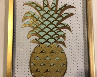 Pineapple Print (Gold White & Mint) 8 x 10