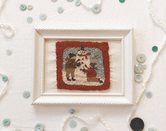 vintage snow scene punch needle art