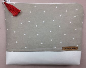 Cosmetic bag made of grey-white dotted cotton fabric and white synthetic leather-floor