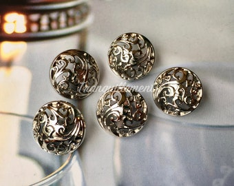 5 Small Retro Vintage Style Silver Floral Wedding Blazer Jacket Coat Sweater Metal Button 0.75 Inches / 1.9 cm
