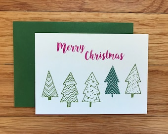 Pink Merry Christmas Cards 8-pack