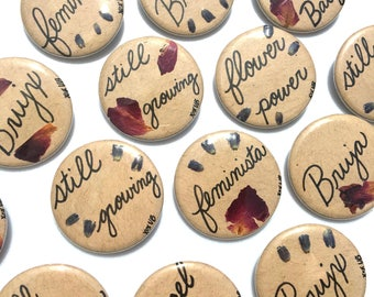 CLEARANCE! LAST ONE! Self Care Pins made with Pressed Roses & Lavender on Recycled Kraft Paper (Choose Style)