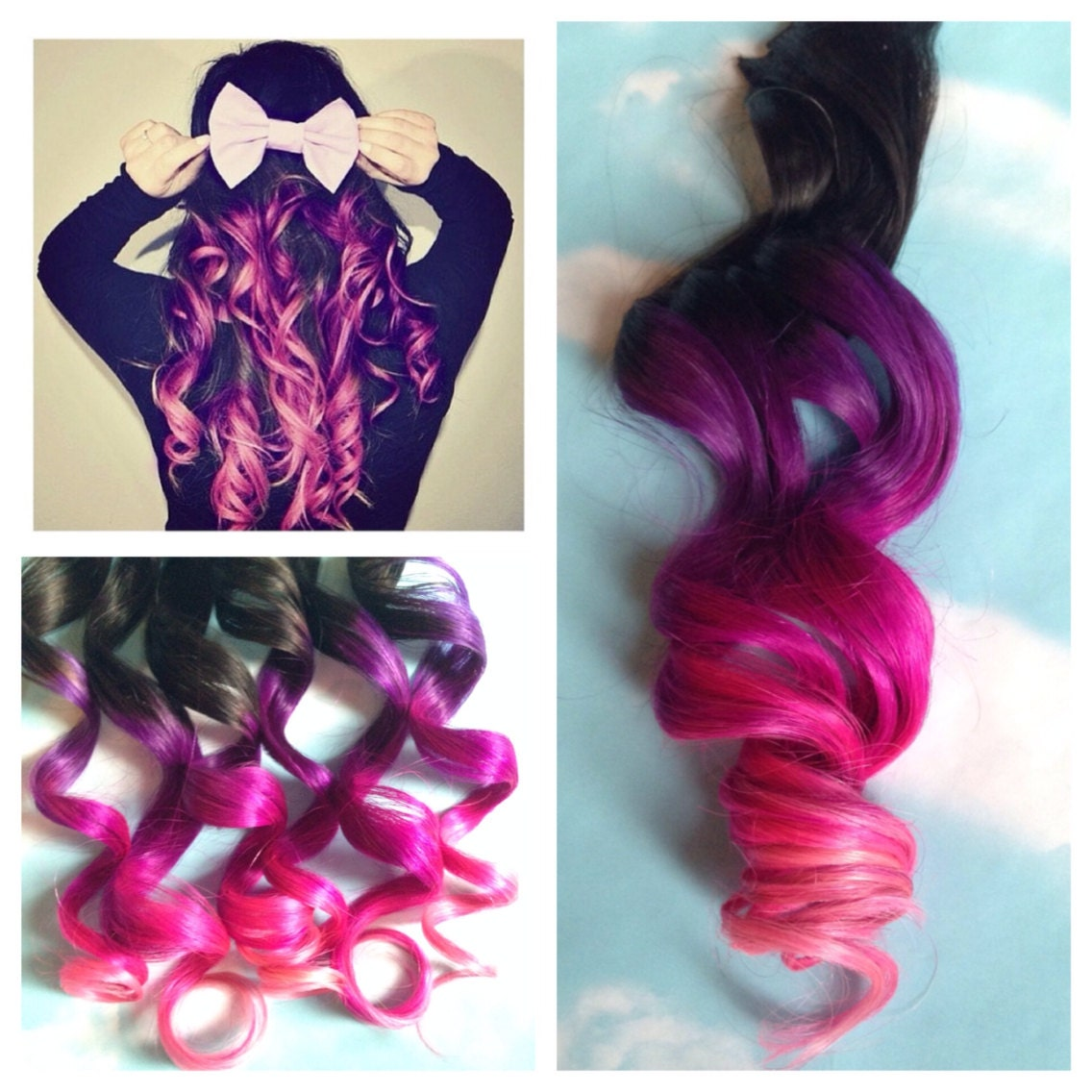 Pink And Purple Hair Clip Extensions Pink Ombre Hair Purple