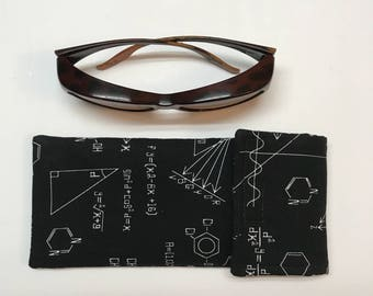 Large black chemistry print sunglass case fits sunglasses that you wear OVER regular glasses, chemistry themed fabric storage pouch