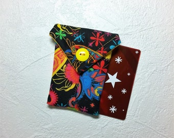Cute, Bright & Colorful Fabric Business Card Pouch / Credit Card Pouch / Gift Card Holder