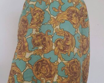 Vintage 1950s 1960s Kitchen Apron Skirt cooking Hostess Green Gold Print Gift