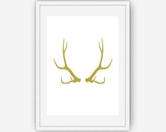 Gold Antler Print, Antler Wall Art, Antler Print, Gold Print, Wall Art, Printable, Instant Download