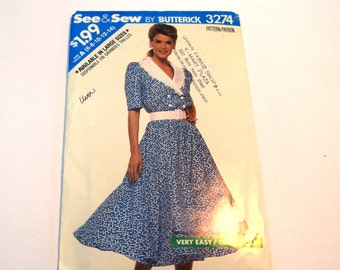 Vintage Butterick See and Sew 3274 button front shawl collar full skirt dress sewing pattern